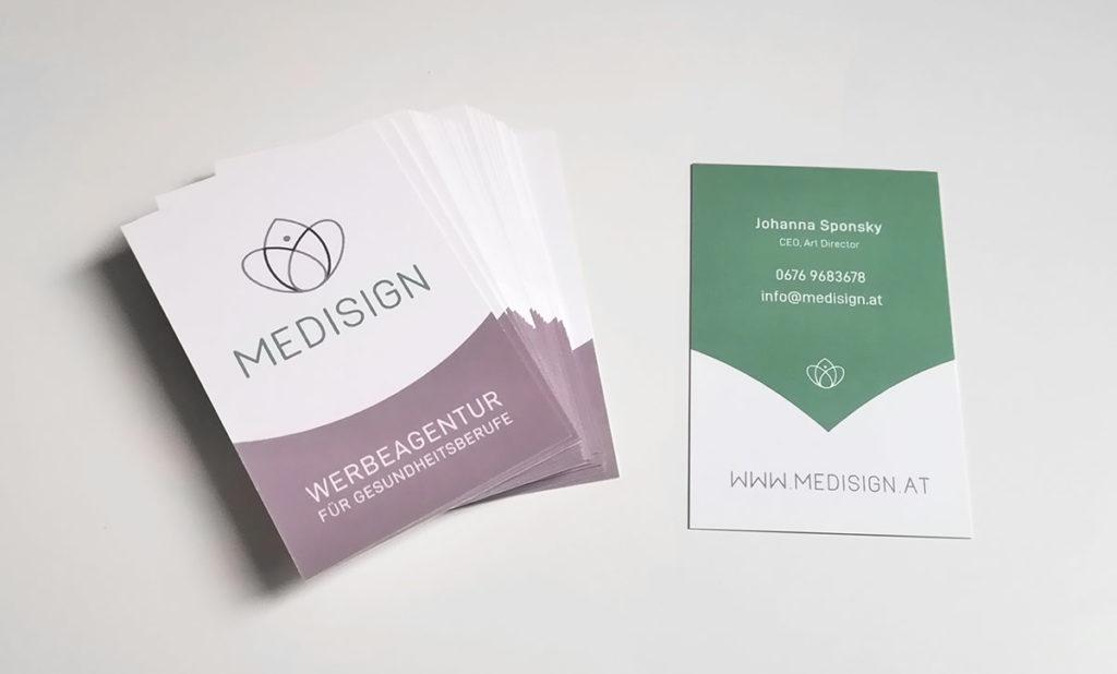 Visitenkarten Medisign Logo Corporate Design